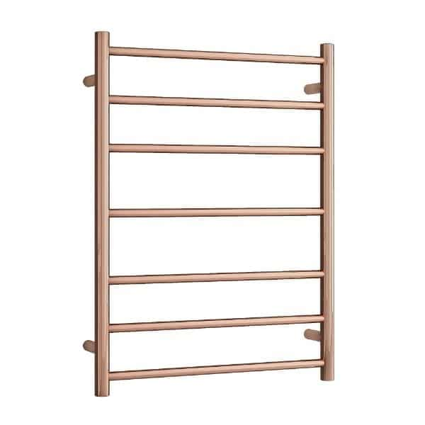 SR44MRG Polished Rose Gold Straight Round Ladder Heated Towel Rail