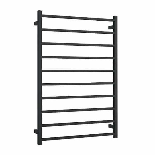 SS88MB Matt Black Straight Square Ladder Heated Towel Rail