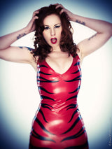 Latex Halterneck Zebra Animal Print Applique Mini Dress