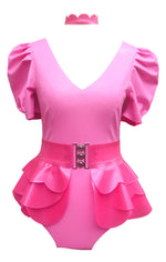 Latex Princess Peach Outfit - Bodysuit / Peplum / Choker