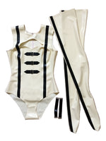 Latex Barbarella Cosplay Outfit Cut Out Body Suit & Stockings