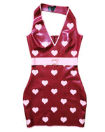 Latex Polka Heart Halter Mini Dress with Bow Belt