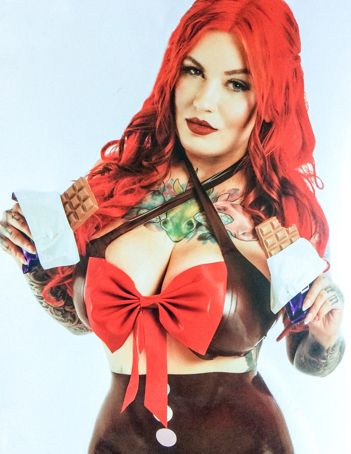Latex Cross Bust Bow Top