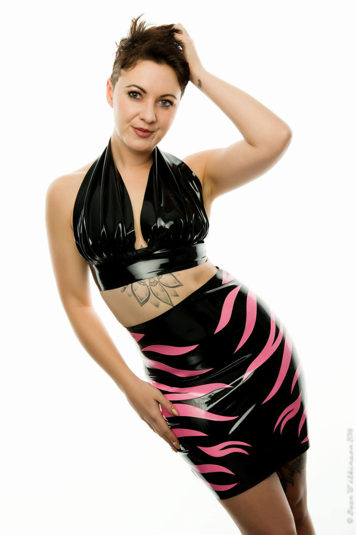 Latex Zebra High Waisted Mini Skirt