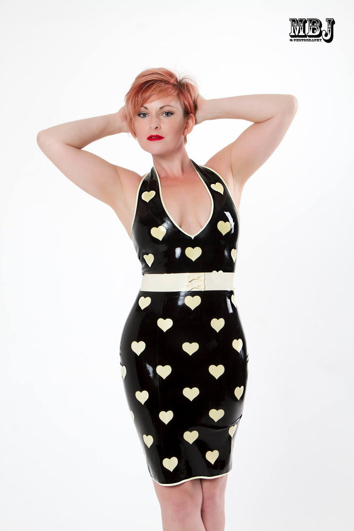 Latex Polka Heart Halter Pencil Dress with Bow Belt