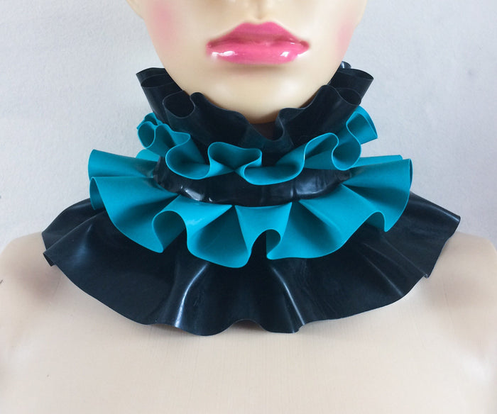 Latex Large Double Ruffle Collar Choker