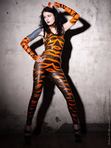 Latex Tiger Stripe Halterneck Catsuit