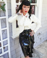 Latex High Waisted Ruffle and Zip Pencil Skirt