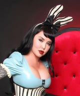 Large Latex Striped Bunny Ears and Bow on Headband