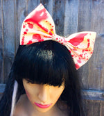 Large Latex Hair Bow on Headband Blood Splatter Pattern