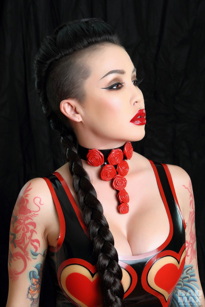 Latex Rose Necklace Choker