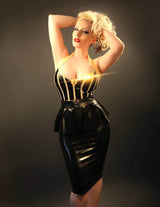 Latex Knee Length High Waisted Pencil Skirt with zip