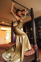Latex Long Fishtail High Collar Cherry Blossom Dress