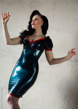 Latex Knee Length Dress with Lace Up Back Underwired Bra Cups and Puff Sleeves