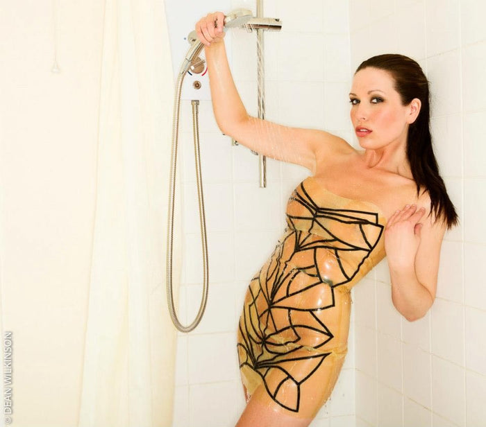 Latex Strapless Art Deco Mini Dress