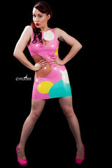 Latex Sixties Shift Dress with Transparent Circles