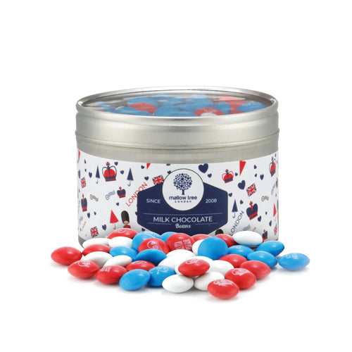 Union Jack Red, White and Blue Chocolate Beans in a Tin