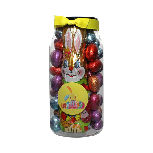 Foiled Milk Choc Large Praline EGGS with Crunch Spring Mix with Milk Choc Hollow Bunny in a Gourmet pet Jar 570 g
