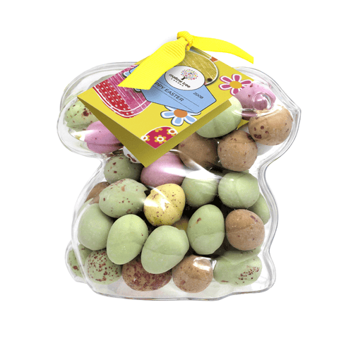Milk Chocolate Speckled Eggs in a Plastic Bunny 175 g