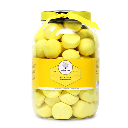 Banana Flavoured Marshmallow Balls in a Gift Jar 600 g