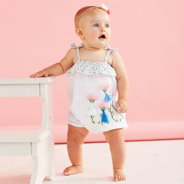 Chiffon Flower Bubble Romper