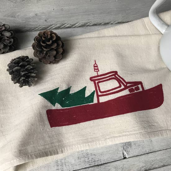 Christmas Lobster Boat Tea Towel