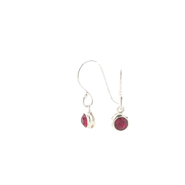 January birthstone (garnet) dark red crystal earrings