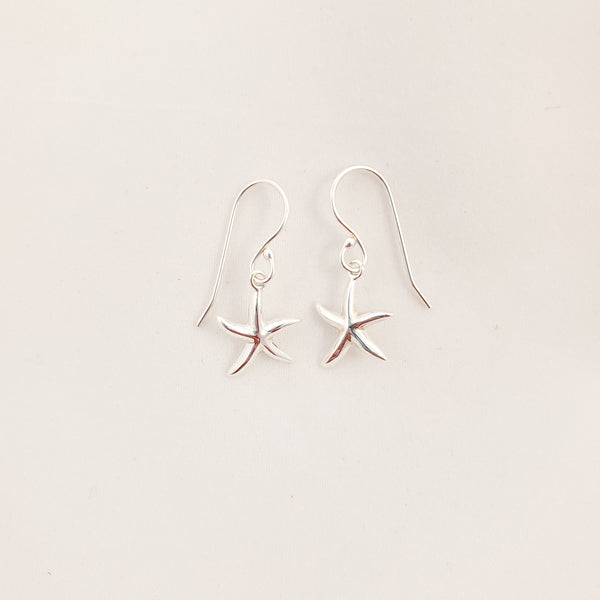 small sterling silver starfish earrings