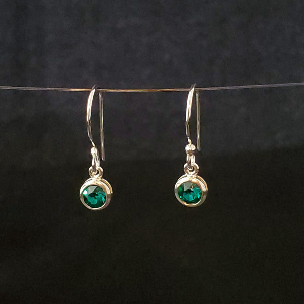 May birthstone (emerald) crystal green earrings