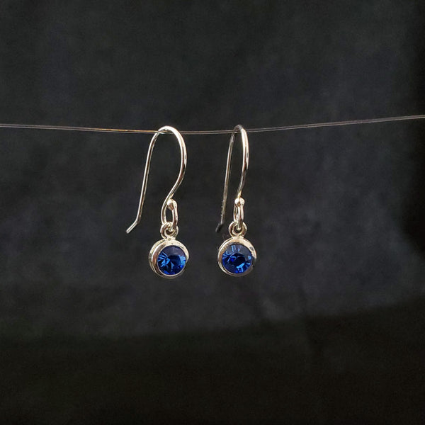 September birthstone (sapphire) blue crystal earrings