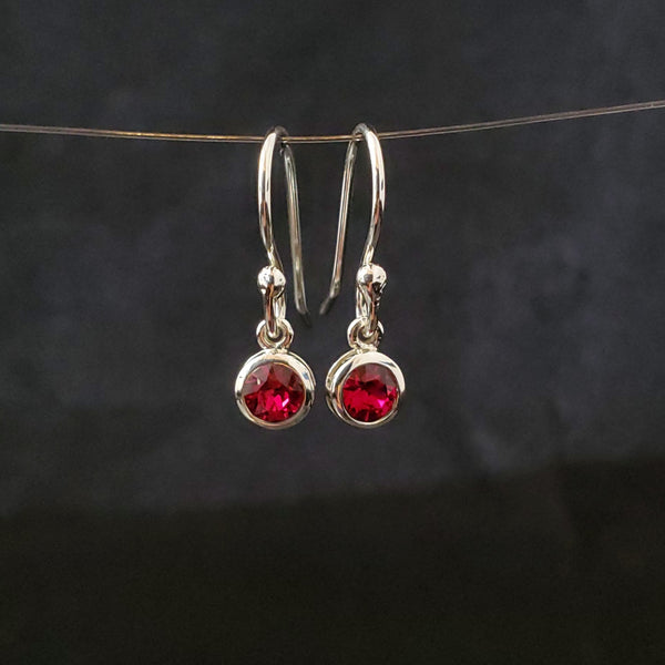 July birthstone (Ruby) red crystal earrings