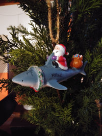 Santa and Shark Ornament