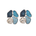4 Blue Shade Stud Earrings