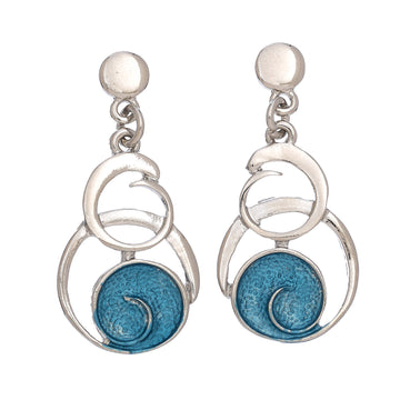 Blue Swirl Two Circle Earring
