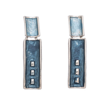 Rectangle Two Blue Earrings