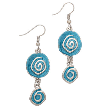 Blue Two Circ w Swirl Earring