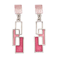 3 Rect Pink Earrings