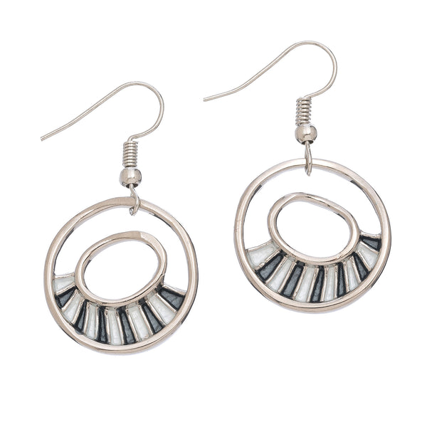 Circle Filled Half Earrings