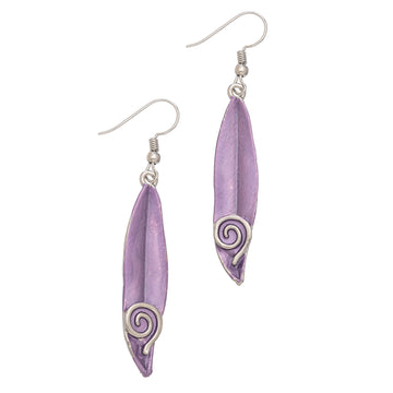 Purp Feather Swirl Earring