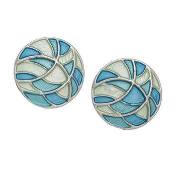 Blue Grn Circ Design Earrings