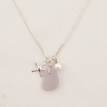 Purple sea glass, starfish, and pearl necklace