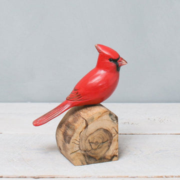 Male Cardinal Carved Wood Bird