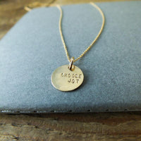 Choose Joy Round Charm Necklace Sterling Silver