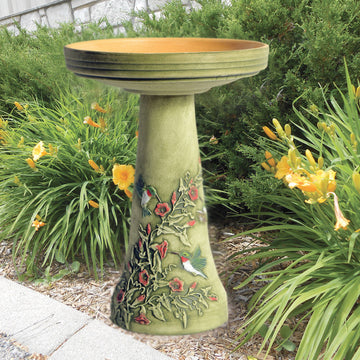 Hummingbird Hand Painted Birdbath -CAN SHIP - or - PRE ORDER - ARRIVES EARLY MARCH 2021