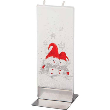 Flat Two Snowmen Candle