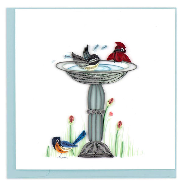Quilled Bird Bath Card