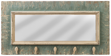 "Distressed 12""x35"" Mirror with Hooks"