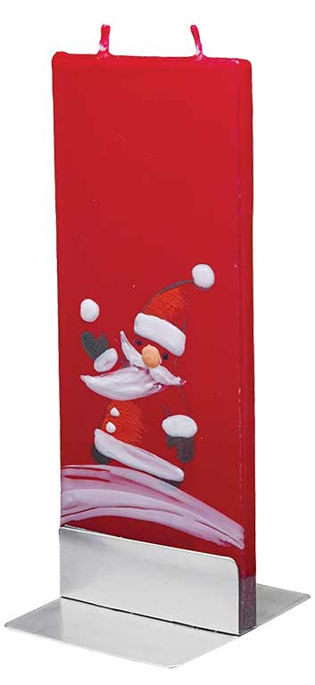 Flat Gnome Santa Candle Red