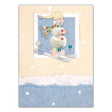Frosty Skier Pin Card