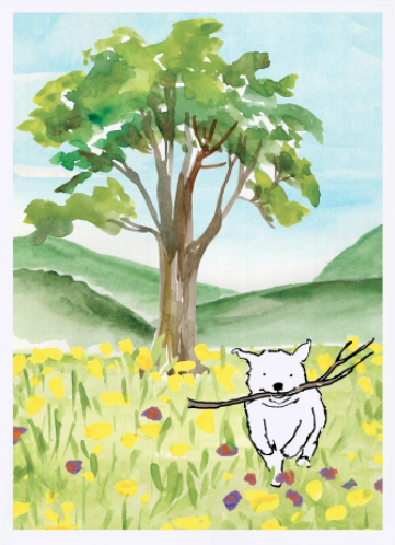 Dog in the Meadow Card
